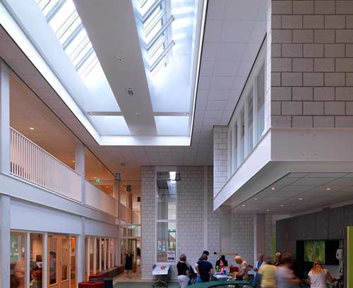 Installed Velux commercial skylights