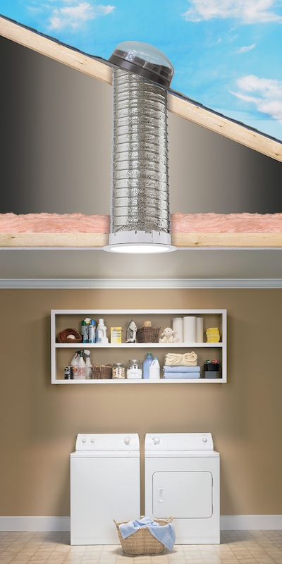 Cutaway view of installed flexible Sun Tunnel thru attic above laundry room